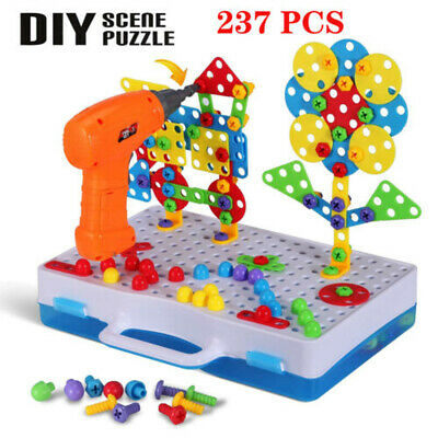 237pcs 3D Creative Mosaic Electric Drill Puzzle Toy Block Peg Set Kids Xmas Gift • 18.96£