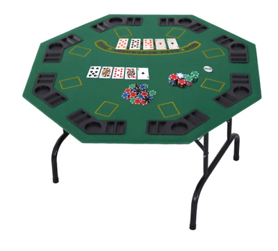 8 Player Folding Poker Table Octagonal Playing Card Game Casino Cup Holder Trays • 109.99£