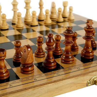 UK Large Folding Wooden Chess Set Chessboard Pieces Wood Board Toy • 11.99£