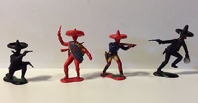 Crescent Toys  Plastic Mexican Western Cowboy X4. • 14£