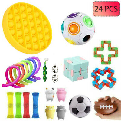 24 PACK Fidget Toys Set Sensory Toys Bundle Stress Relief Hand Toys Kids Adults • 18.99£