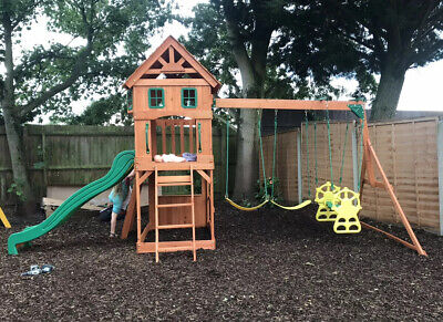 """Backyard Discovery Atlantic"" Wooden Swing Set With Slide And Climbing Wall • 400£"