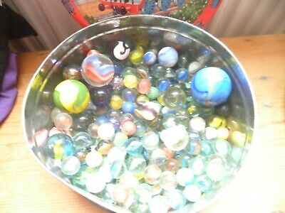 Job Lot Of Vintage Marbles In Old Tin • 0.99£