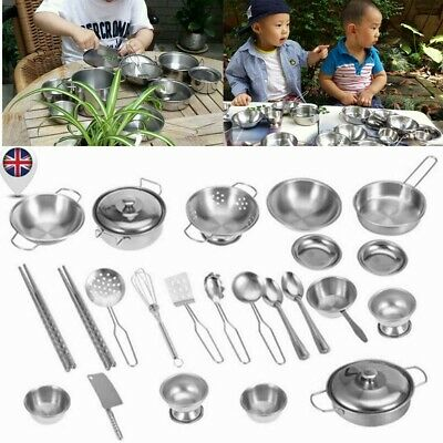 16PCS Kids Kitchen Pretend Role Playset Cooking Utensils Accessories Toys Gifts • 12.52£