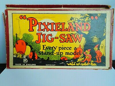 Very Rare Vintage Gibson Wooden Pixieland Jigsaw Puzzle • 70£