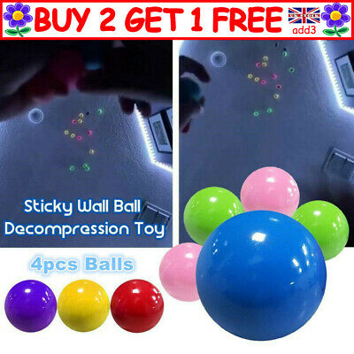 4x Sticky Wall Balls For Ceiling Stress Relief Globbles Squishy Kids Adult Toy R • 5.49£