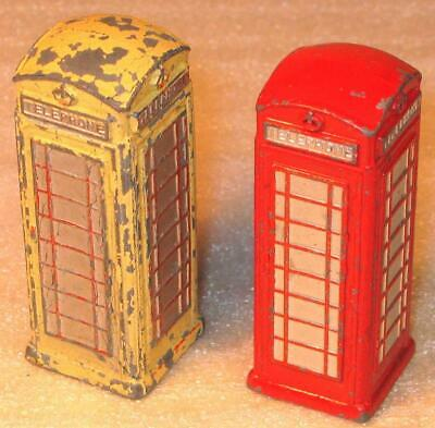 DINKY TOYS No 12c AND No 750 TELEPHONE BOX1936-62 TWO USED EXAMPLES • 18£