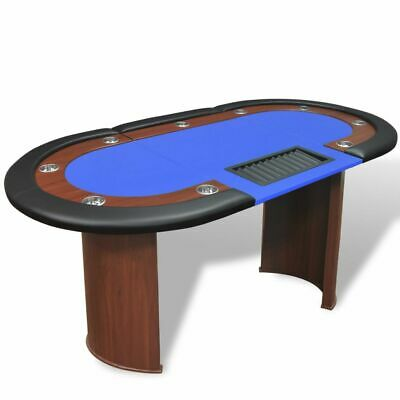 10 Player Casino Poker Table Leg Folding Top Dealer Area Chip Tray Cup Holder • 289.99£
