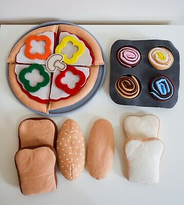 Fabric Play Food, Pizza With Plate, Bread Slices, Swiss Rolls • 10.99£