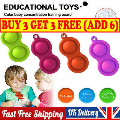Baby Simple Dimple Sensory Toys Stress Relief Silicone Flipping Board Keychain • 5.99£