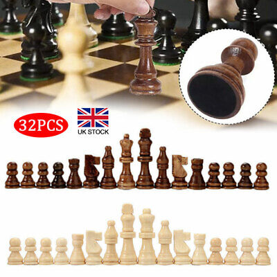 Premium 32 Piece Wooden Carved Small  Chess Pieces Hand Crafted Set King Tools • 10.56£