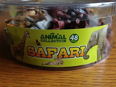 Tub Of 48 Plastic Toy Safari Animals - Great For Party Bags - Brand New • 7.50£