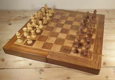Beautiful Vintage Solid Hand Made Inlaid Wooden Backgammon & Chess Set. • 49.95£