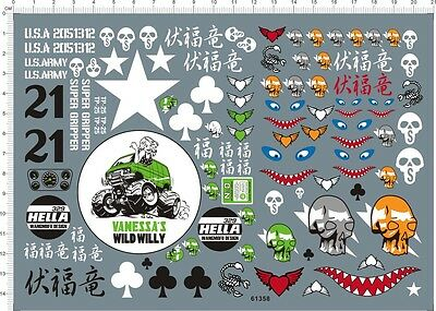 1/10 Scale WILD WILLY CUSTOM Skull Shark Jaw RC Model Water Slide Decal • 7.54£