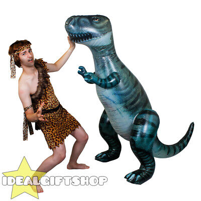 Giant Inflatable Dinosaur Tall Blow Up Outdoor Toy Beach Pool Party + Caveman • 26.99£