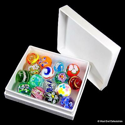 Collectors Box Set Of 16 X Handmade Marbles- 16mm Intricate Glass Art Toy Marble • 29.99£