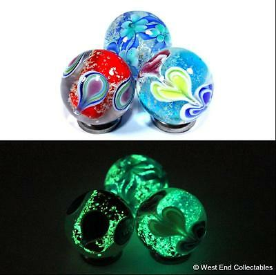 Set Of 3 X 22mm Glow In The Dark Glass Toy Marbles - Handmade Marble Collectors • 9.99£