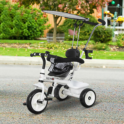 HOMCOM Kids Children Tricycle Ride On 3 Wheels Safe Canopy W/ Handle White • 52.99£
