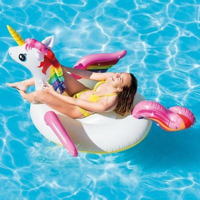 Intex 79  Giant Unicorn Inflatable Swimming Pool Lounger Ride-on Beach Float Toy • 12.99£