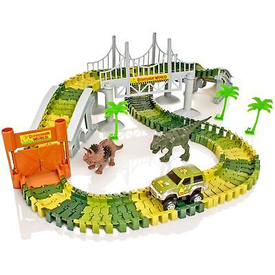 Dinosaur Dino World Childrens Flexible Race Car Track Construction Play-Set Toy • 11.99£