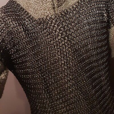 Artificer Handmade Larp/cosplay/hema Chainmail Vest Butted Black Chest 32-36 • 125£