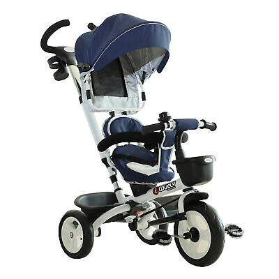 HOMCOM 4-in-1 Baby Tricycle Folding Stroller Kids Trike Detachable W/ Canopy • 74.99£