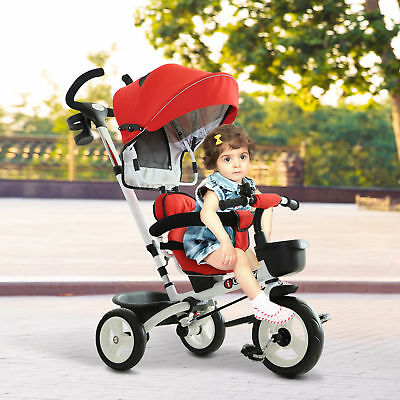 HOMCOM 4-in-1 Baby Tricycle Folding Stroller Kids Trike Detachable W/ Canopy Red • 77.99£