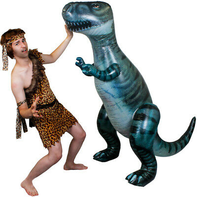 Giant Inflatable Dinosaur With Caveman Costume Pre Historic Adults Fancy Dress • 29.99£