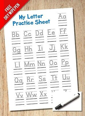 Alphabet & Handwriting Practice Sheet - A4 Reuseable - KS1 KS1 With Line Guides • 2.99£