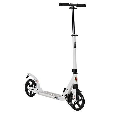 HOMCOM Kick Scooter Folding 2 Big Wheels Adjustable  Adult Teens For 14+ White • 65.99£