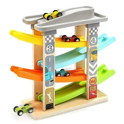 Milly & Ted Wooden Race Track Car Ramp Racer Click Clack Toy Garage • 13.99£