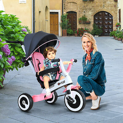 HOMCOM Baby Tricycle Children's 4 In 1 Trikes Kids Stroller W/ Canopy Pink • 87.99£