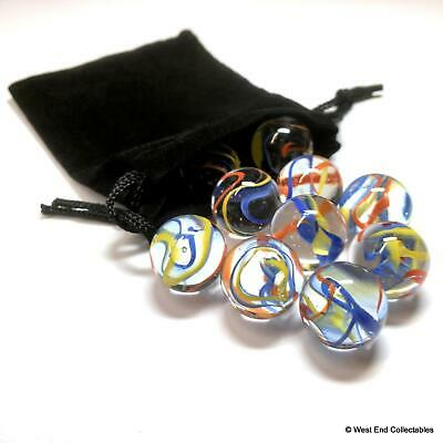 10 X Stunning Rainbow Spaghetti Swirl Small 16mm Glass Toy Marbles In Gift Bag • 5.99£