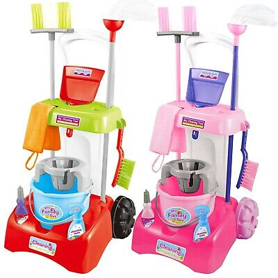 Kids Cleaning Trolley Cart With Mop & Brush Role Play Toy Set Cleaning Tools • 14.99£