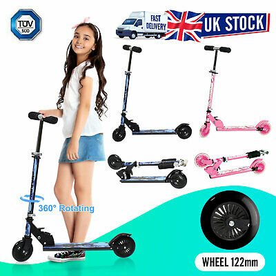 Kids Stunt Scooter Kick Push Scooter 122mm Wheel 360 Spin Foldable Adjustable UK • 24.99£