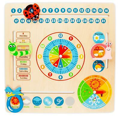 Wooden Calendar Clock Childrens Educational Learning Toy Teach Kids Time & Dates • 6.99£