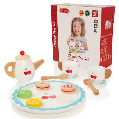 Milly & Ted Wooden Cherry Teaset Childrens Pretend Play Food Kitchen Toy  • 11.99£
