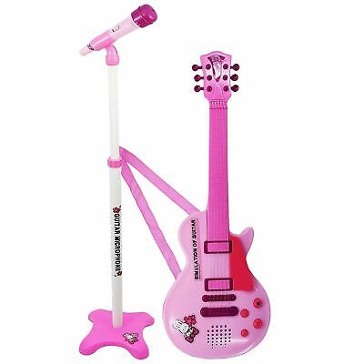 Kids 6 String Pink Electric Play Guitar & Microphone Set With Adjustable Stand • 14.99£