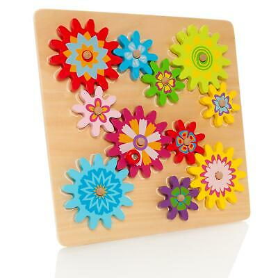 Milly & Ted Wooden Spinning Gears & Cogs Baby Play Activity Puzzle Wood Toy Set • 11.50£