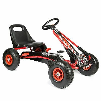 Childrens Kids Red Pedal Go Kart Cart With Inflatable Wheels And Hand Brake • 67.99£