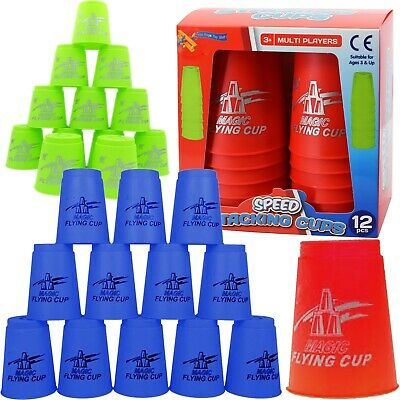 Set Of 12 Stacking Cups Magic Flying Sports Quick Cups Challenge Party Toy • 5.65£