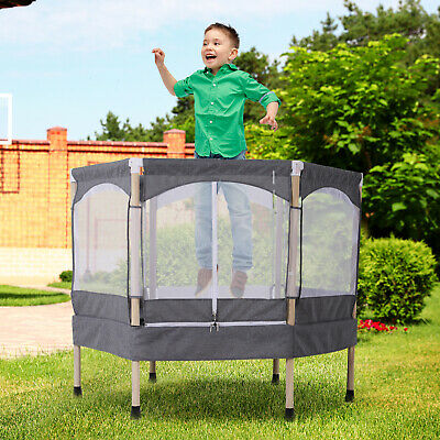 HOMCOM Kids Trampoline Outdoor Bounce Hexagon W/Safety Enclosure Net&Spring Grey • 81.99£