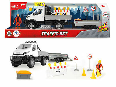 Dickie Toys Playlife Traffic Construction Set Inc Iveco Truck & Trailer Age 3+ • 24.79£