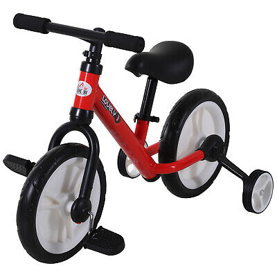 HOMCOM Kids Balance Training Bike Toy W/ Stabilizers For Child 2-5 Years Red • 39.99£
