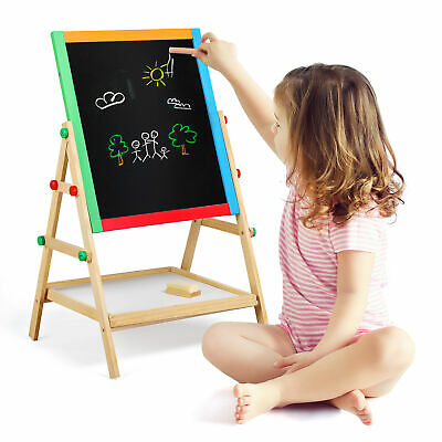Kids Adjustable-Height 2 In 1 Wooden Easel Black/White Children Drawing Board • 11.68£