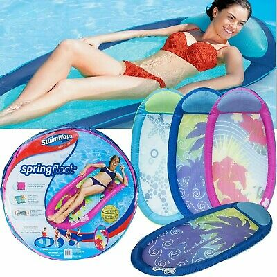 SwimWays Spring Float Inflatable Lounger Cooling Mesh Pool Beach Foldable Lilo • 15.99£