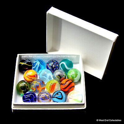 Glass Marbles By Vacor De Mexico Collectors Box Set Of 16 X 16mm Mega Marbles • 14.99£