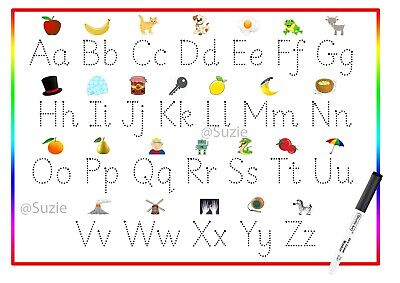 Childrens Alphabet Letters Tracing Educational Reusable Dry Wipe • 3.50£