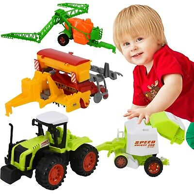 Friction Tractor 4x4 Farm Toys Playset 1:87 Scale Seeder Baler Sprayer Cultivato • 10.89£