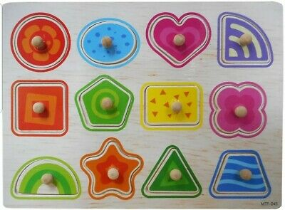 Children Wooden Board Peg Puzzle Jigsaw Shapes Baby Kid Educational Toys • 3.49£